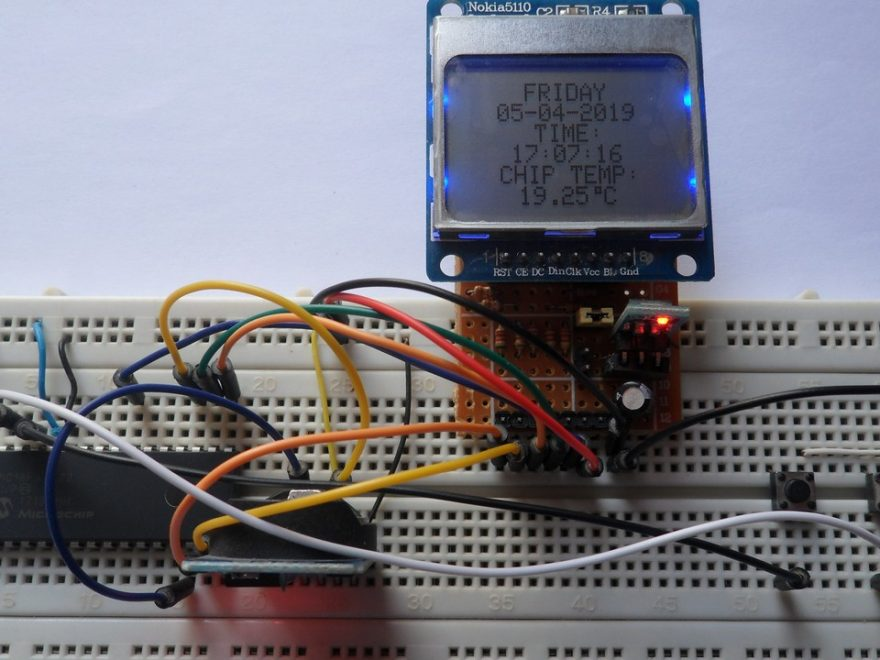 PIC18F46K22 with DS3231 RTC and Nokia 5110 LCD