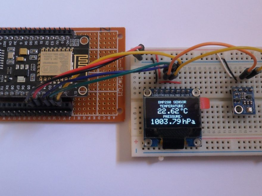 ESP8266 NodeMCU with SSD1306 OLED and BMP280 sensor
