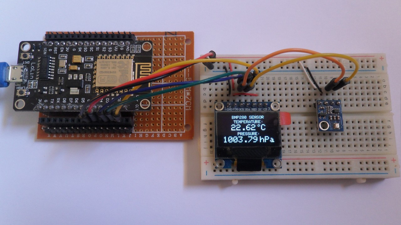 ESP8266 NodeMCU Interface with SSD1306 OLED and BMP280 sensor