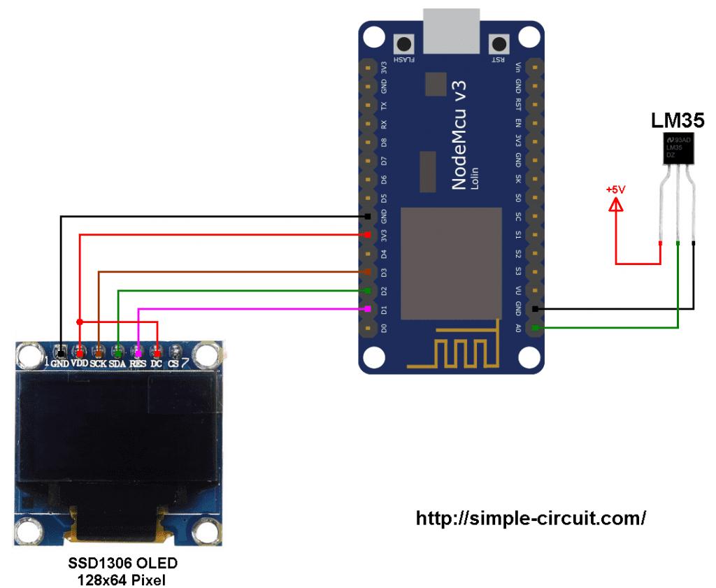 ESP8266 NodeMCU LM35 analog temperature sensor SSD1306 OLED