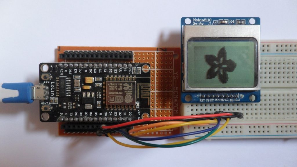 ESP8266 NodeMCU with Nokia 5110 LCD circuit