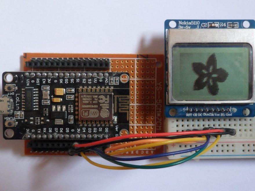 ESP8266 NodeMCU with Nokia 5110 LCD circuit