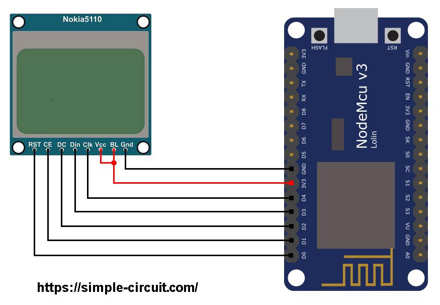 ESP8266 NodeMCU Nokia 5110 LCD circuit