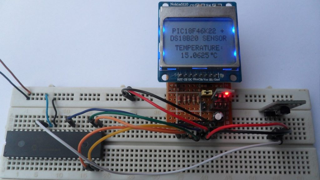 PIC18F46K22 MCU with DS18B20 sensor and Nokia 5110 LCD