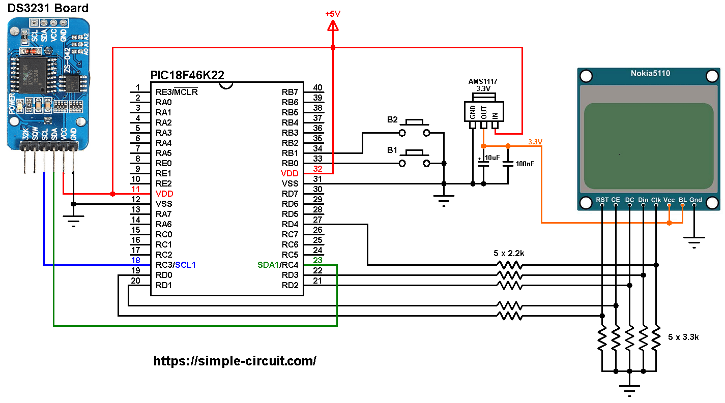 Pic Mcu With Ds3231 Rtcc And Nokia 5110 Lcd Mikroc Projects