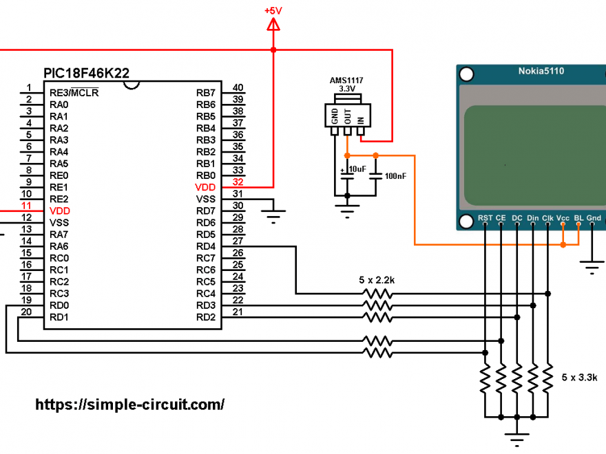 PIC18F46K22 Nokia 5110 LCD interfacing circuit