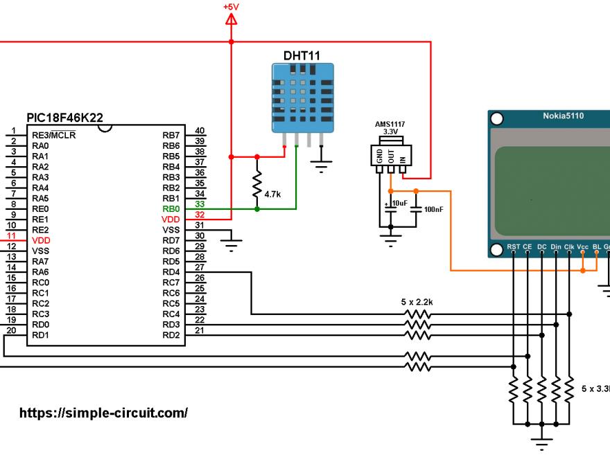PIC18F46K22 Nokia 5110 LCD DHT11 sensor circuit