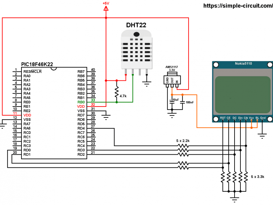 PIC18F46K22 Nokia 5110 LCD DHT22 - AM2302 sensor circuit