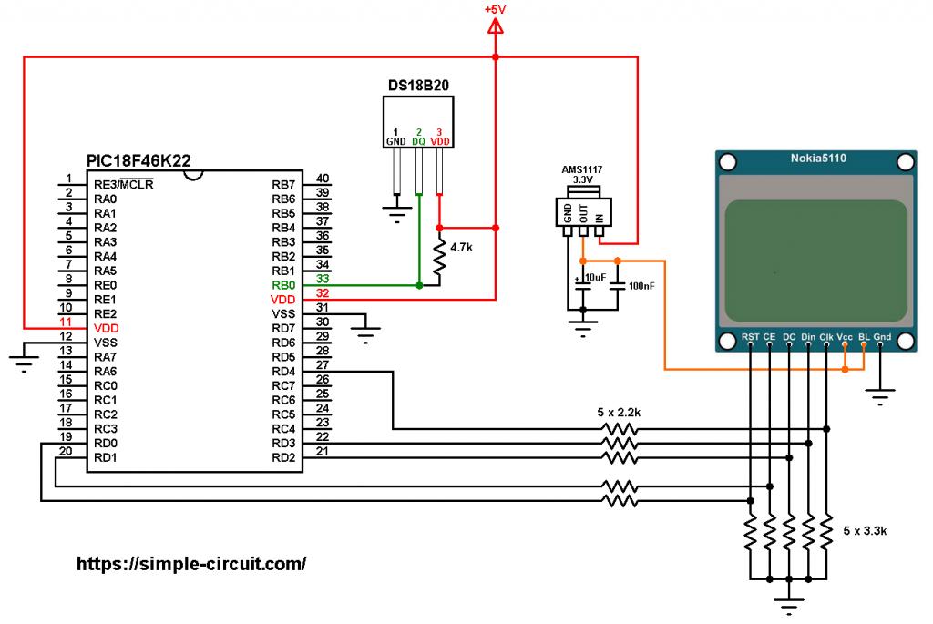 PIC18F46K22 Nokia 5110 LCD DS18B20 sensor