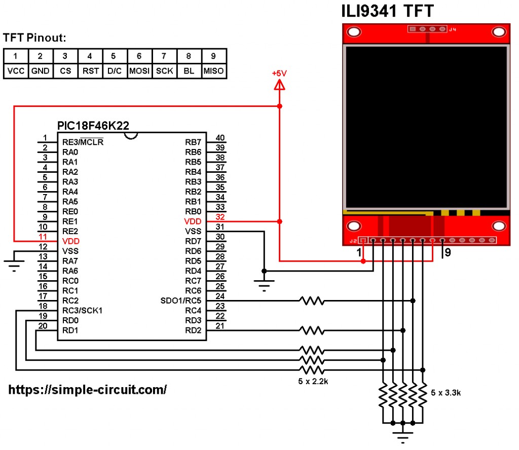 PIC18F46K22 ILI9341 TFT circuit