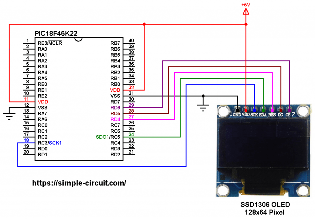 PIC18F46K22 SSD1306 OLED SPI mode circuit