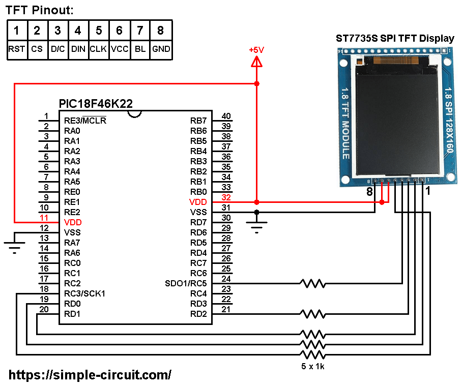 PIC18F46K22 ST7735 SPI TFT display circuit