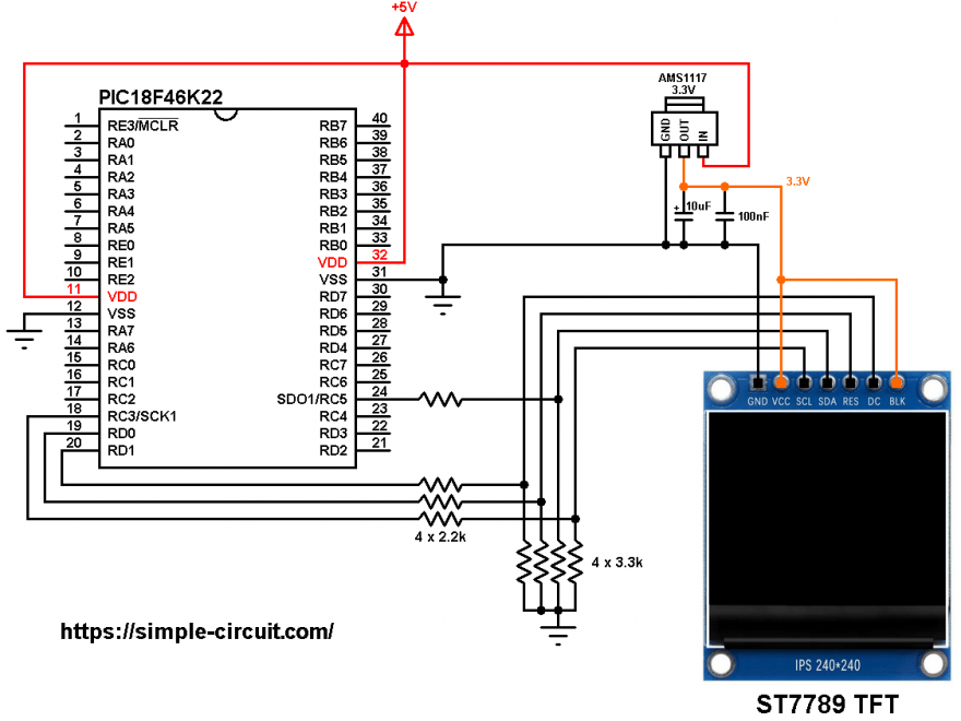 PIC18F46K22 ST7789 TFT display circuit