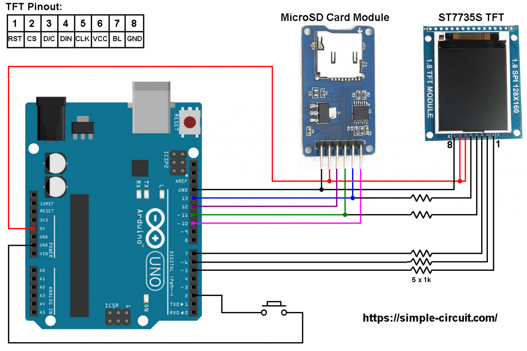 Arduino SD card ST7735 TFT display circuit