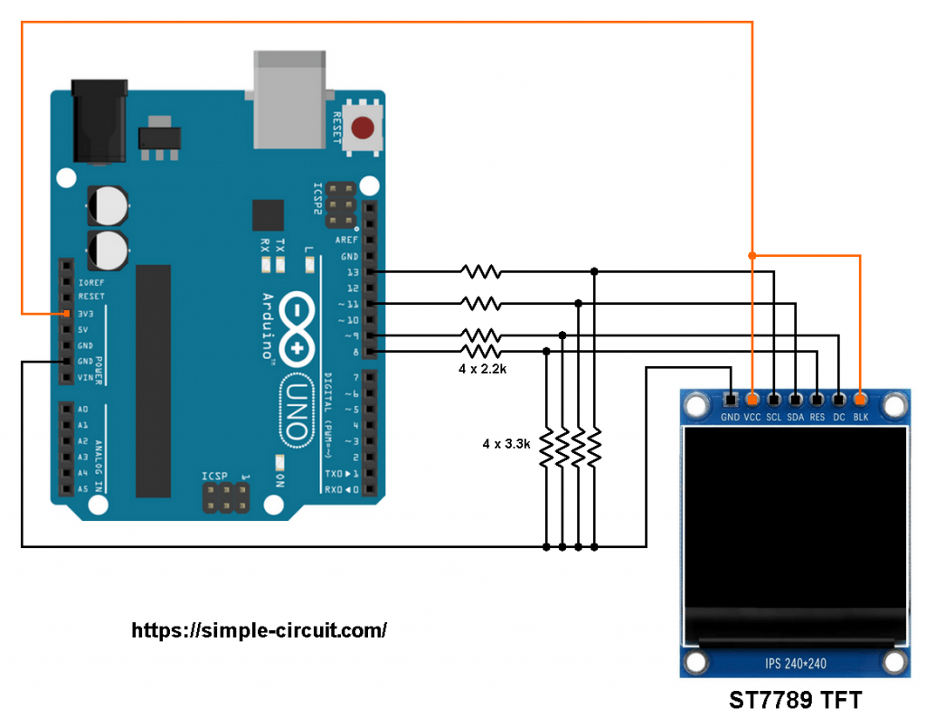 Arduino ST7789 TFT display circuit
