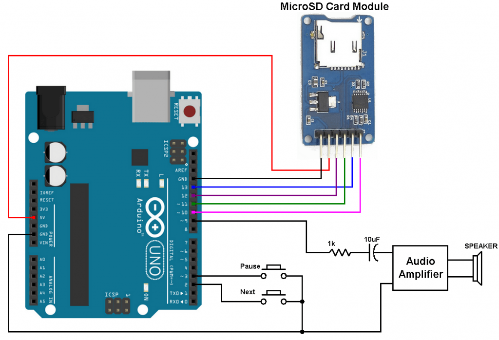 Arduino wave audio player sd card circuit
