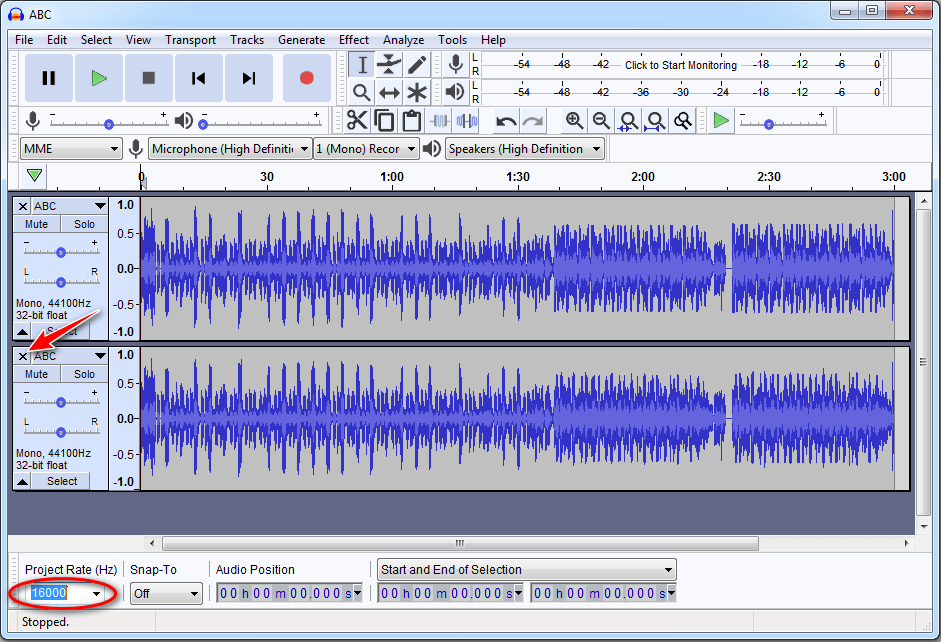 Audacity change sampling rate