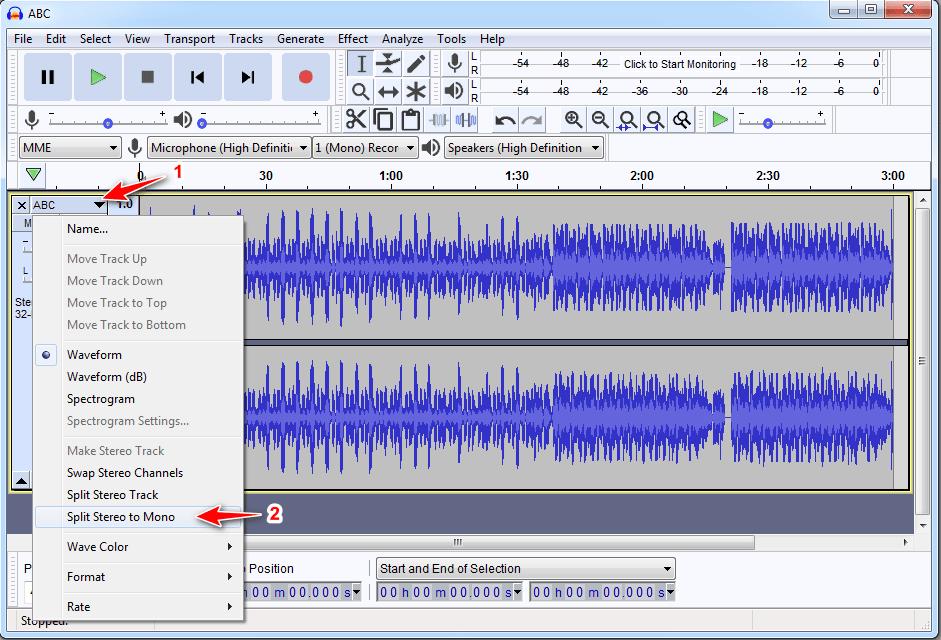 Audacity convert stereo to mono
