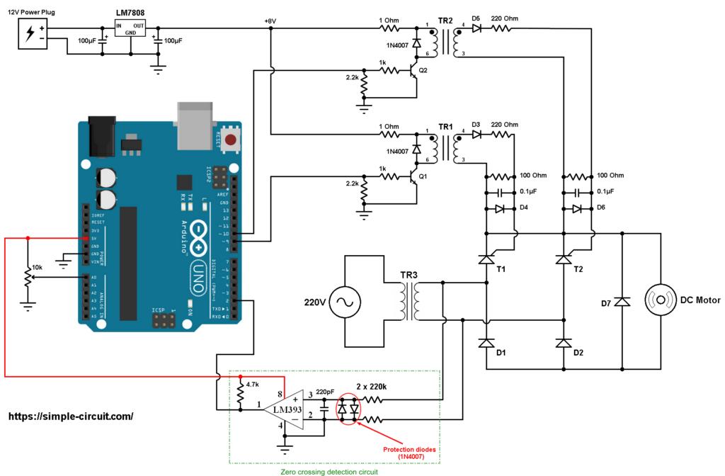 Arduino dc motor control bridge rectifier thyristor