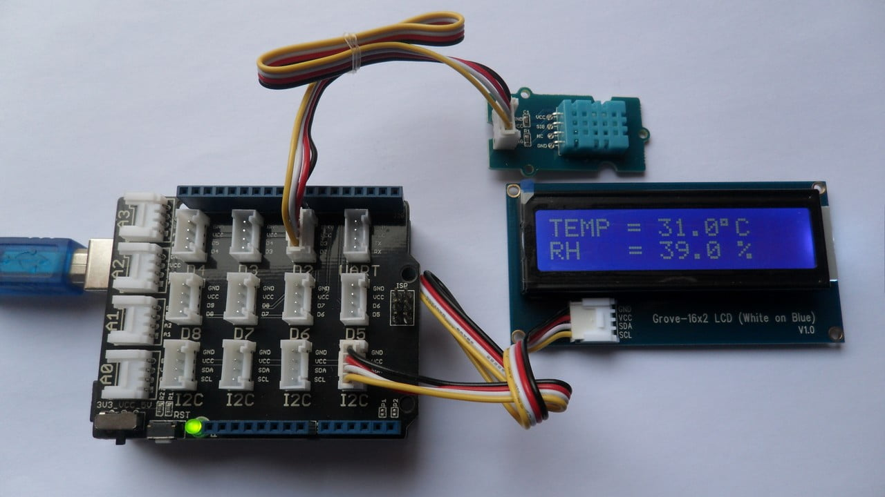 Arduino with Grove DHT11 Sensor and 1602 LCD - Simple Projects