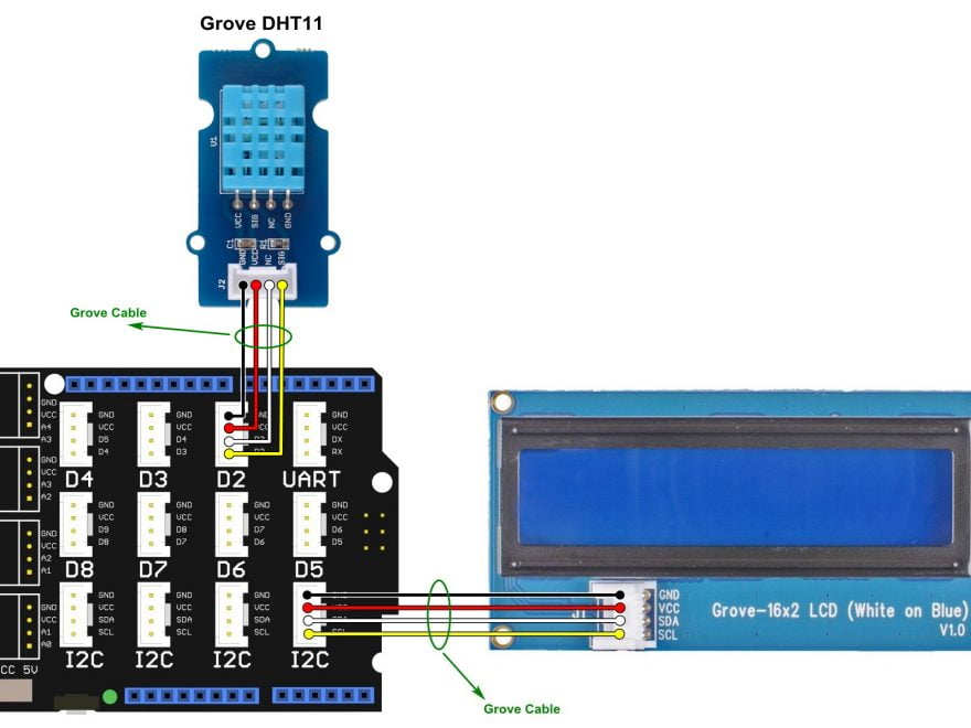 Arduino Grove DHT11 sensor I2C LCD circuit