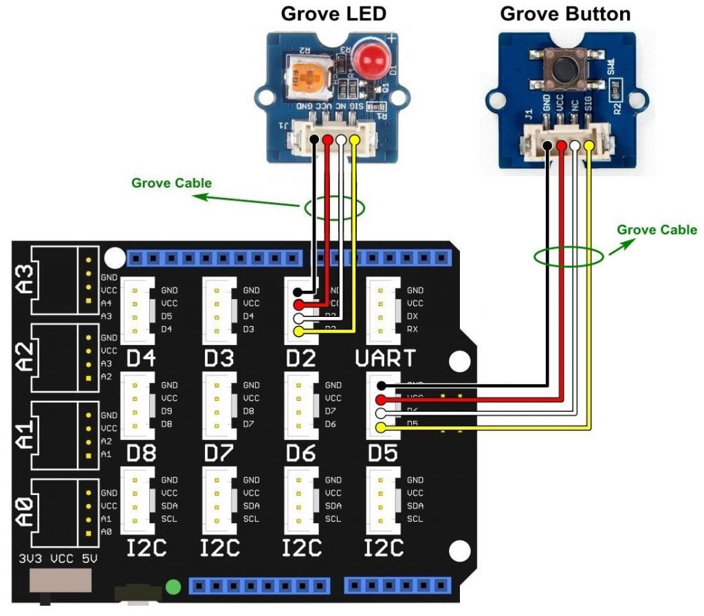 Arduino LED control push button Grove modules circuit