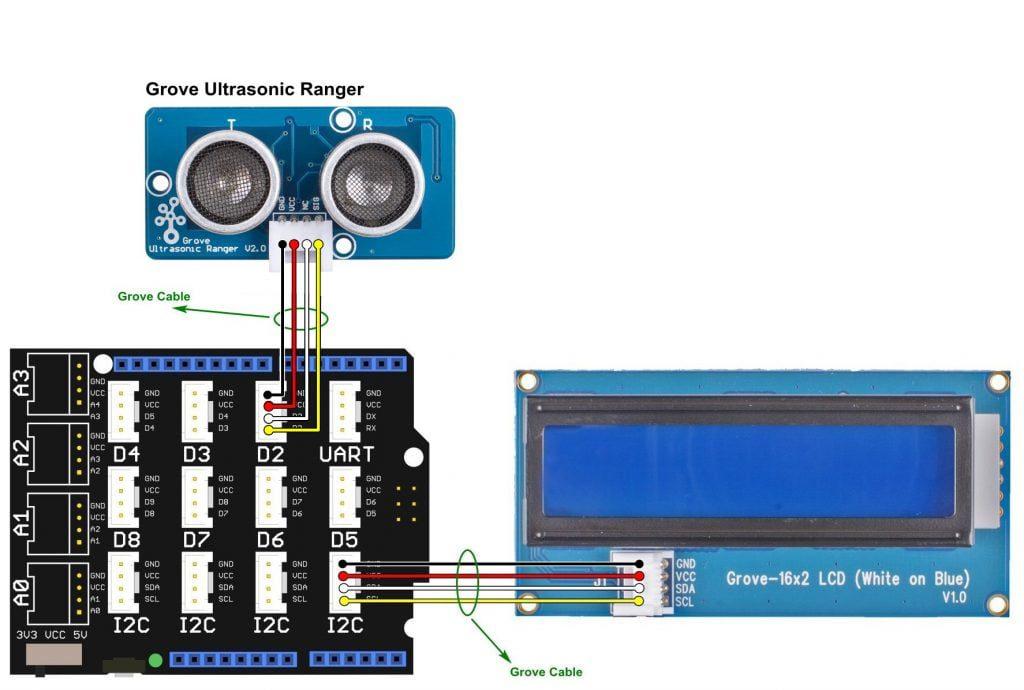 Arduino Grove ultrasonic ranger 16x2 LCD circuit