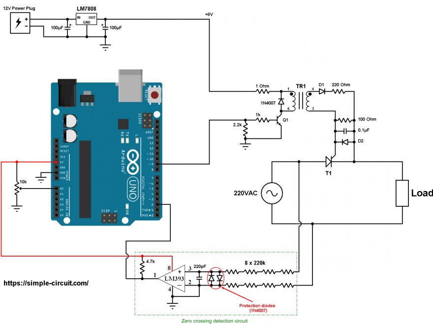 Arduino 220V half wave controlled rectifier Thyristor SCR