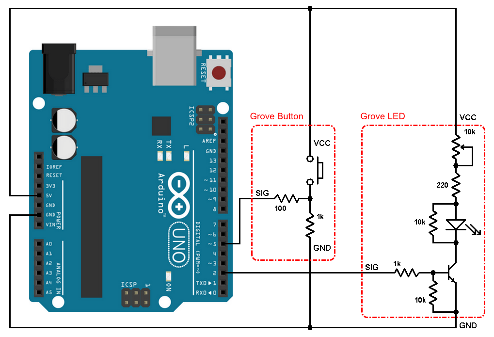 Arduino LED control push button Grove