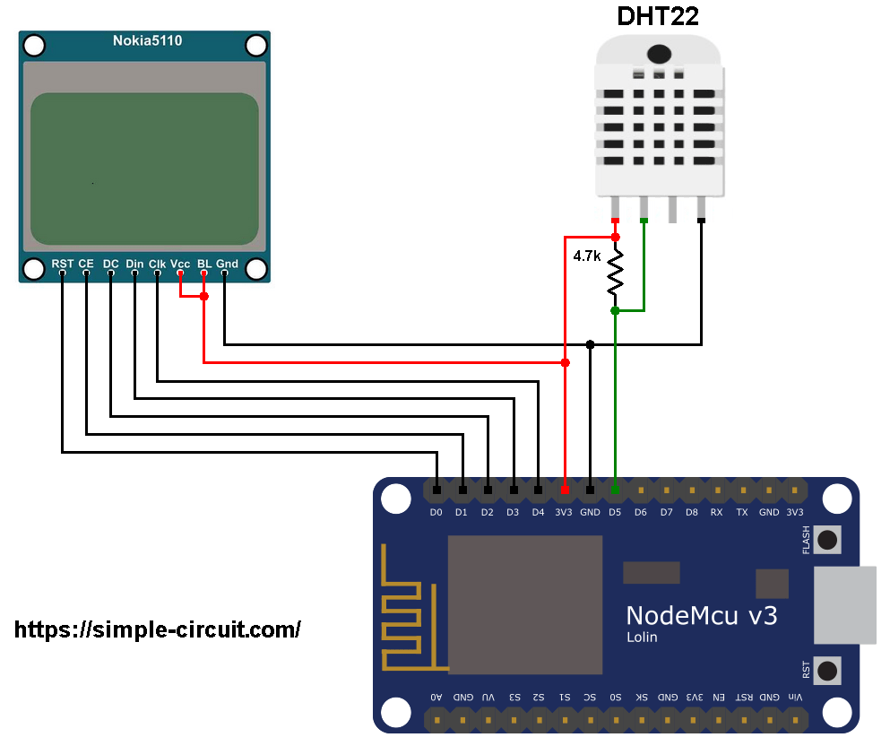 ESP8266 NodeMCU Nokia 5110 DHT22 AM2302 circuit