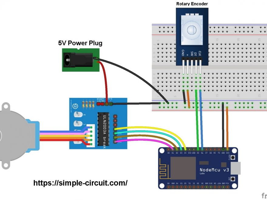 ESP8266 NodeMCU stepper motor control circuit rotary encoder