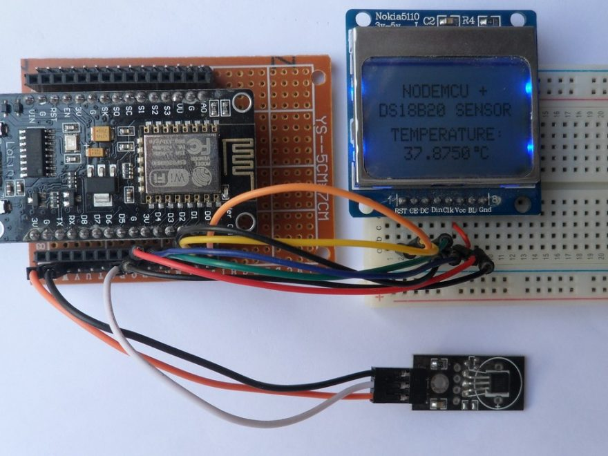 NodeMCU with DS18B20 sensor and Nokia 5110 (3310) LCD