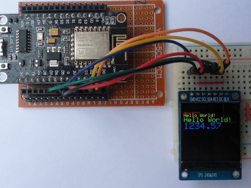 NodeMCU WiFi board with ST7789 TFT display