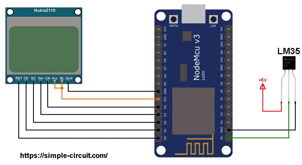 ESP8266 NodeMCU Nokia 5110 LCD LM35 temperature sensor