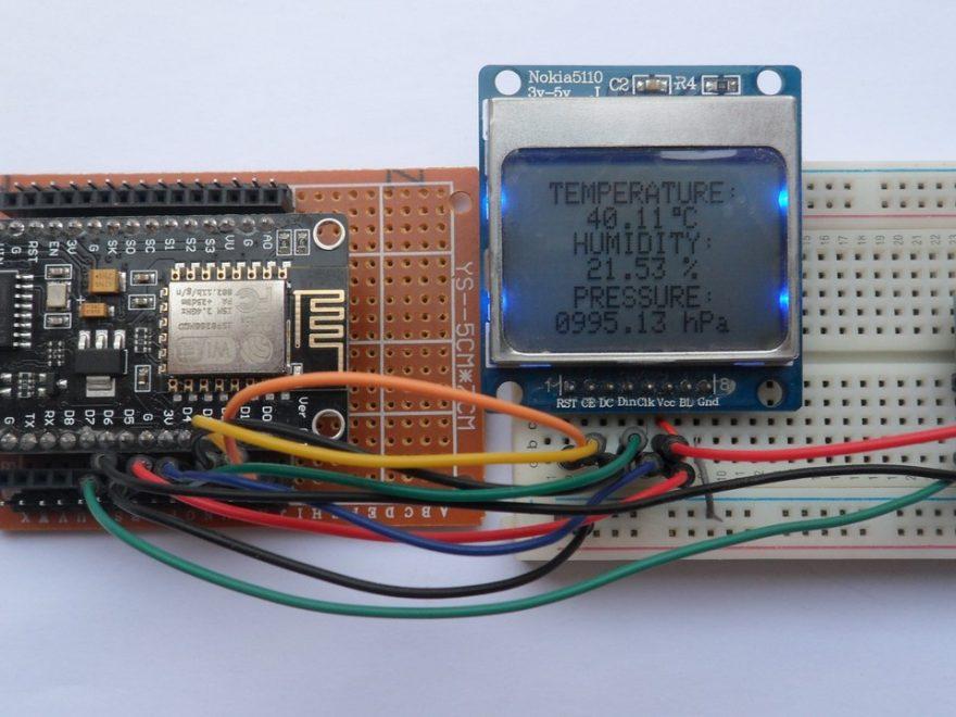 Weather station NodeMCU BME280 sensor and Nokia 5110 LCD