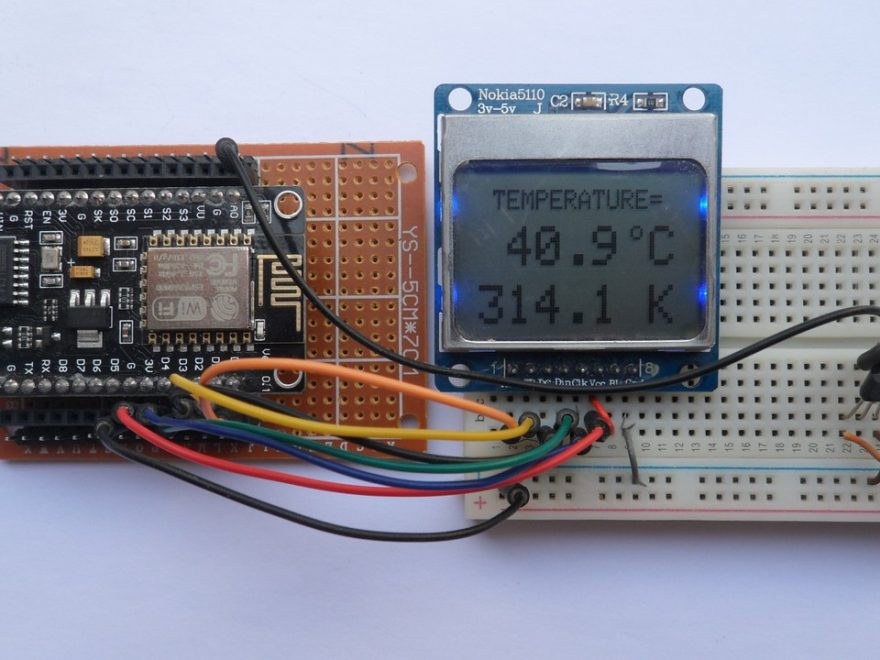 NodeMCU (ESP-12E) with LM35 sensor and Nokia 5110 LCD