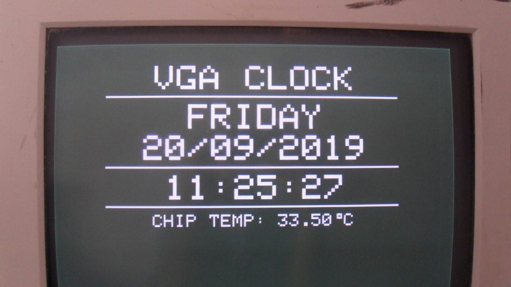 VGA clock with PIC18F46K22 MCU and DS3231 RTC