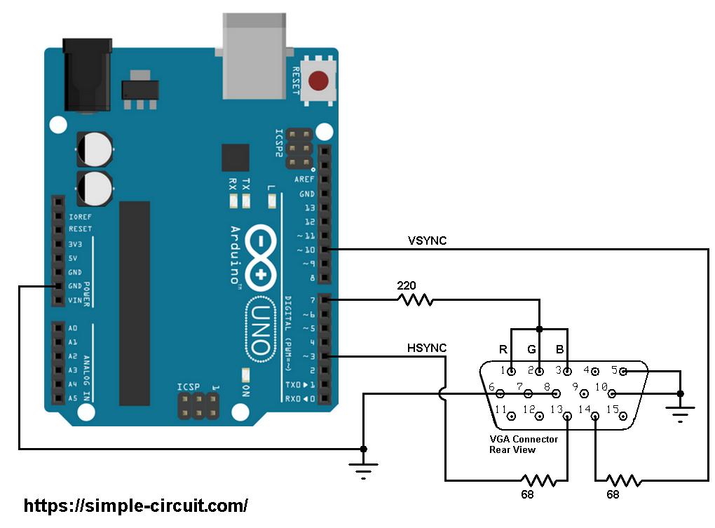 Arduino VGA monitor circuit