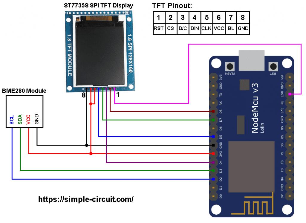 ESP8266 NodeMCU ST7735 TFT BME280 sensor circuit