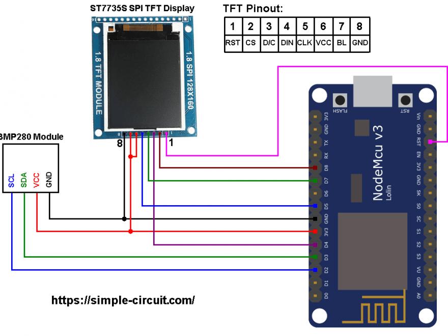 ESP8266 NodeMCU ST7735 TFT BMP280 sensor circuit