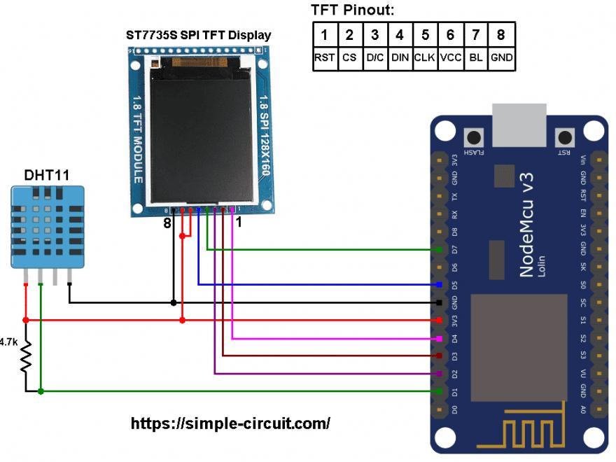 ESP8266 NodeMCU ST7735 DHT11 RHT01 sensor circuit