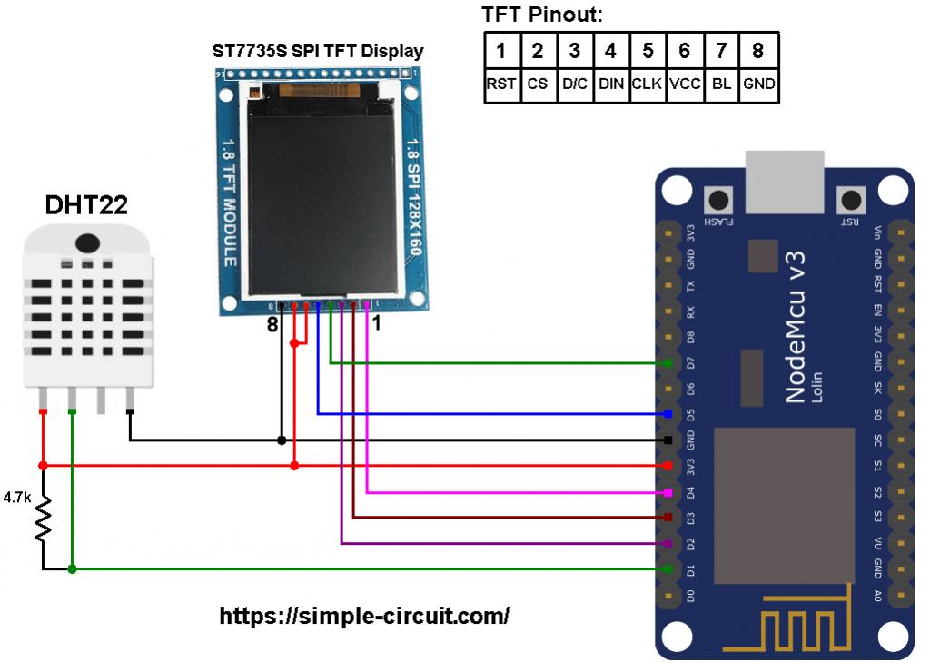 ESP8266 NodeMCU ST7735 DHT22 AM2302 RHT03 sensor circuit