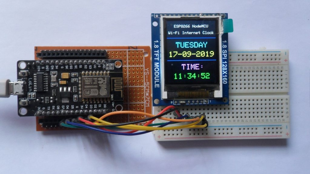 ESP8266 NodeMCU ST7735 TFT internet clock