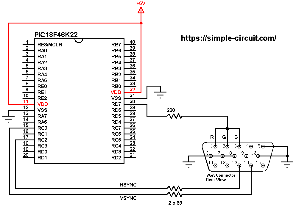 PIC18F46K22 VGA interfacing circuit