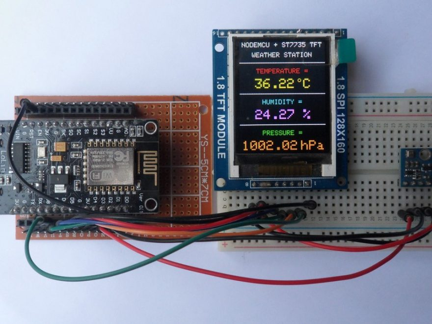 NodeMCU (ESP-12E) with ST7735S TFT and BME280 sensor weather station