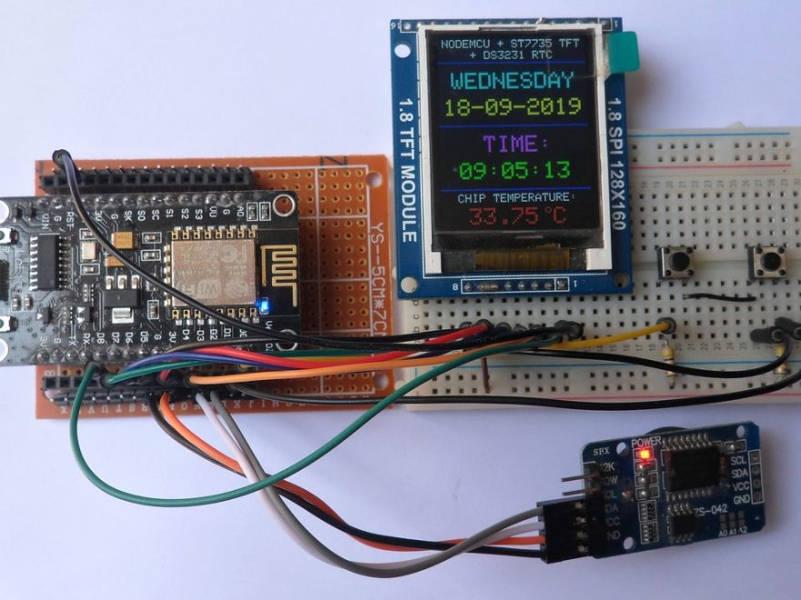 NodeMCU with DS3231 RTC and ST7735S TFT