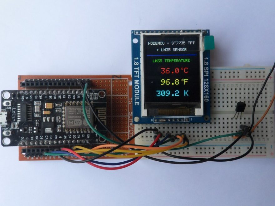 NodeMCU with ST7735S TFT and LM35 temperature sensor