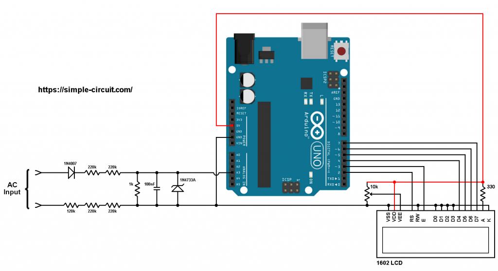 Arduino AC voltmeter circuit