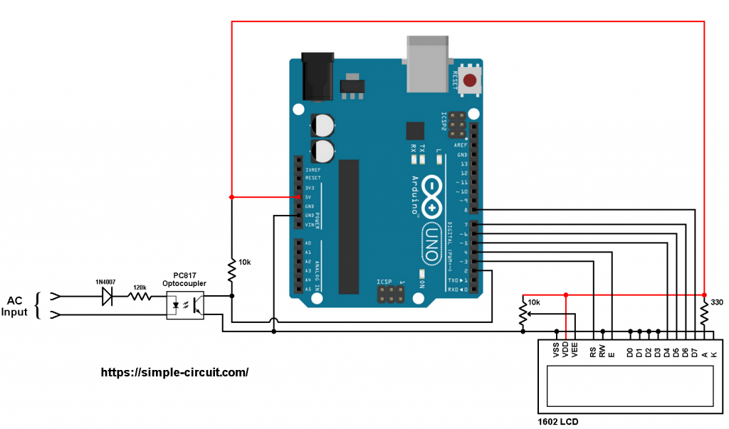 Arduino frequency meter circuit 220V 380V