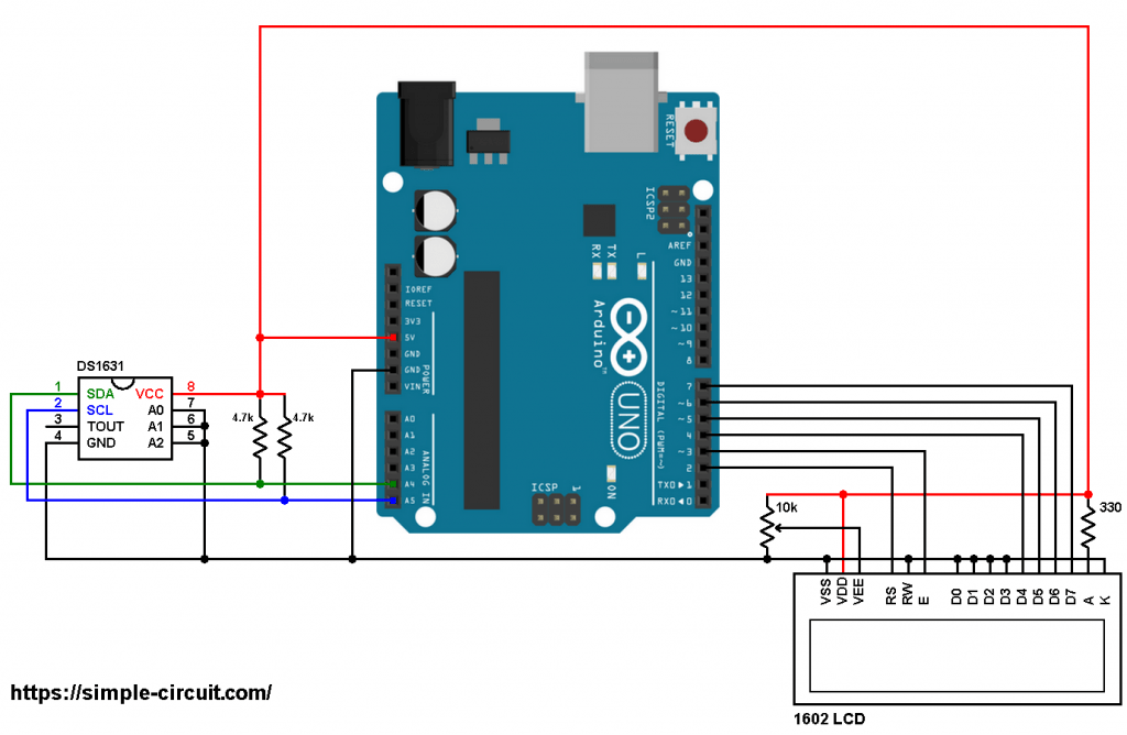 Arduino DS1631 temperature sensor 1602 LCD